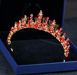 red flower diamond hairpin NZ - Hot red crystal diamond diamond hand crafted bead beads headwear toast accessories