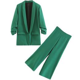 Army Green Suit Australia - Customized new ladies suit women's green single buckle two-piece suit (jacket + pants) women's business formal suit dress