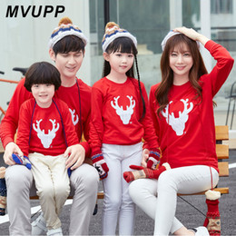 Match Clothing Mom Baby NZ - MVUPP Deer Christmas Sweater Mommy and Me family matching clothes tshirt Sets Mom Dad Son Baby Girls family look Outfits 2 style