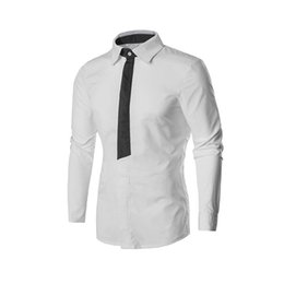 70f1493bfd5620 Fashion Mens Casual Slim Fit Shirt Smart Casual shirt Patchwork Fake tie Long  Sleeve Business Shirts Top male men 2 colors