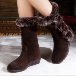 Lady Snow Boots Mid Calf Australia - New Hot Women Boots Autumn Flock Winter Ladies imitation rabbit hair Snow Boots Shoes Thigh High Suede Mid-Calf Boots a1123456
