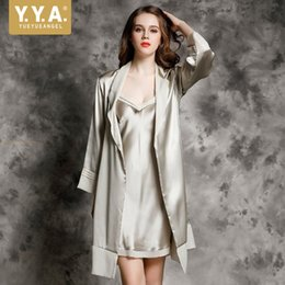 42274d0dc High Quality Luxury Slim Fit Woman Nightwear 100% Silk Satin Nightgowns  Robe Sets Sexy V Neck Suspender Pajamas Two Piece Sets