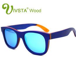 960929966e IVSTA Real Skateboard Wood Sunglasses Polarized Wooden Sunglasses Men  Handmade Natural Stainless Steel Spring Hinge Mirror Blue