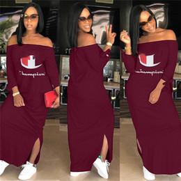 be2806874aba Plus size dress brands online shopping - Women Champions Letter Dress Brand  Shoulder Out Split Long