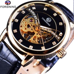 pin display cases NZ - x Forsining 2017 Diamond Display Transparent Case Fashion Casual Golden Mechanical Skeleton Watch Top Brand Luxury Men Wrist Watch