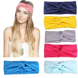 exercise scarf Canada - Simple Sold Colors Elastic Headband Sports Yoga Exercise Body-building Hairband Women Cross Clothing Headband Wrist Wrap And Scarf 10 Color