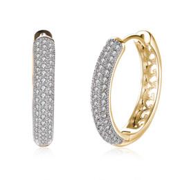 Vintage copper hoop earrings online shopping - Vintage K Gold Zircon Earrings Single Row Diamond Girl Romantic Earrings Ear Clips Women s Champagne Gold
