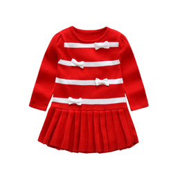 2018 Autumn Winter Girls sweater dress Bow Kids Baby Fashion wild sweater  skirt Children Clothing Knitted Pleated stripe Jumper Pullover 440caf592