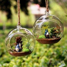 glass hanging ball terrarium 2019 - 8pcs DIA 8CM hanging round glass air plant terrariums bubble crystal balls flower globe vase for wedding ceiling decorat