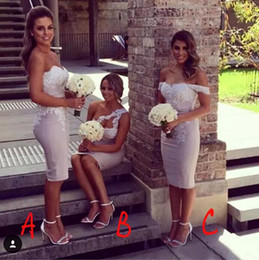 $enCountryForm.capitalKeyWord NZ - Mixed Styles Sheath Short Bridesmaid Dresses For Summer Garden Church Weddings Sleeveless Sexy Backless Appliqued Wedding Guest Party Gowns