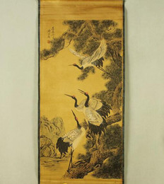chinese calligraphy paintings NZ - Antique Chinese painting Qi Baishi landscape painting Chinese painting home decoration Four crane figure has been installed