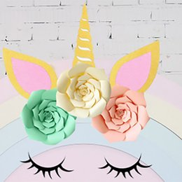 $enCountryForm.capitalKeyWord NZ - DIY Unicorn Theme Party Sets Decoration Wedding Party Artificial FLowers Banner And Glitter Ear Eyebrow Angle Kits Decoration HH7-1085