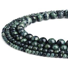 Chinese  YOUS Natural Stone Kambaba Jasper Gemstone Round Loose Beads Green for Bracelet DIY Jewelry Making 1 Strand manufacturers