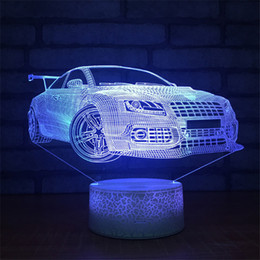 pattern batteries NZ - High Quality Free Shipping DC 5V USB Powered AA Battery Sports Car Pattern LED Light 3D Illusion Lamp