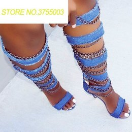Discount open knee shoes - Women Denim Straps with metal Chains Sandals Boots Open Toe Gladiator Ladies Sexy High Heel Knee High Boots Cut Out Styl