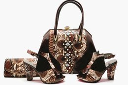 Chinese  Beautiful coffee-colored heels, italian-designed snake-print African ladies wedding party shoes, and matching handbags..heel 10cm..A-GG56-1 manufacturers