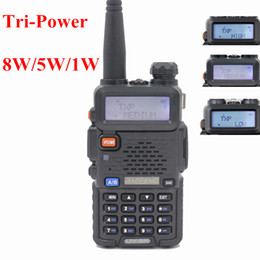 Wholesale BaoFeng UV R W UHF VHF Dual Band Two Way Radio Walkie Talkie channels FM VOX TOT Dual display standby High Middle low Power