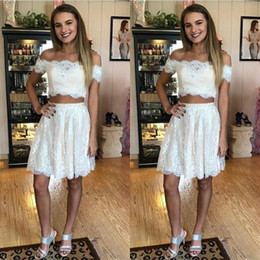 Formal above knee dresses online shopping - New Ivory Two Piece Lace Prom Dresses Custom Made Cocktail Party Dress Above Knee Length Formal Occasion Wear BC0293