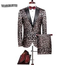 Men Leopard Print Pants NZ - Fashion Leopard Print Suit Men Costume Homme Mariage Luxury Mens Dj Suit Stage Wear Stylish Slim Fit Mens Suits With Pants L-4XL