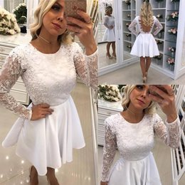 Vintage club coVer online shopping - 2018 Cheap Short Cocktail Dresses For Women A Line Sheer Long Sleeves Lace Applique Beaded Backless Knee Length Homecoming Prom Party Gowns