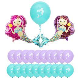 Pearl Coating NZ - 95*80CM Big Mermaid Balloons inflatable 44*39CM Small Aluminium Coating&10'' Latex Ballons party Sea Beach Decor Palloncini Wedding Birthday