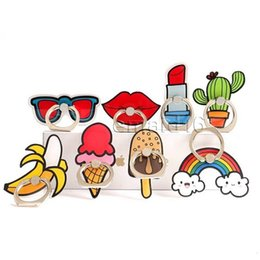 Chinese  Fashion Ring Cellphone Holders Cartoon Rainbow Cactus Cellphone Case Stands DIY Creative Universal Phone Mounts Cheap Free DHL A855 manufacturers