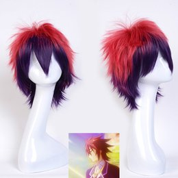 color bob wigs UK - No Game No Life Anime Cosplay Party Ombre Short Bob Heat Resistant Wig