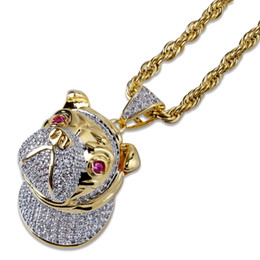 gold micro pendant UK - Hip Hop New 3D Design Bulldog Pendant Necklace Gold Silver Plated Iced Out Micro Paved Zircon Necklace