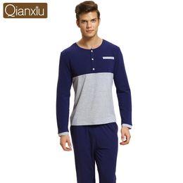 2018 Autumn Brand Homewear Men Casual Patchwork Pajama sets Male Mo Cotton  Sleepwear suit Couples Round collar t shirt   Pants a550c528e