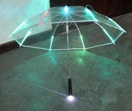Light up umbreLLas online shopping - New Rib Light up Blade Runner Style Changing Color LED Umbrella with Flashlight Transparent Handle Straight Umbrella Parasol SN1055