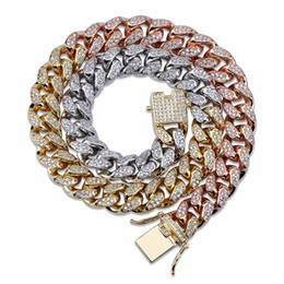 rose gold miami cuban chain 2019 - 12mm Iced Out Zircon Miami Cuban Link Necklace Choker Silver Rose Gold Color Chain Hip Hop Jewelry discount rose gold mi