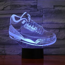 Ce Shoes Australia - Sports Shoes Shape Lamp 3D Optial LED Lamp Night Lamp AA Battery USB Powered 7 RGB Light DC 5V Wholesale Free Shipping