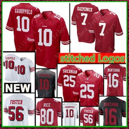 e384780f0 49ers 16 Joe Montana 7 Colin Kaepernick10 Jimmy Garoppolo Jersey 56 Reuben  Foster 53 NaVorro Bowman 80 Jerry Rice Jerseys