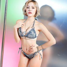 3b4fd44bd1 Sexy Denim Bralette Bra Cami Shorts Women Camisole Tank Top+Hot Pants Night  Club Beach Wear Party Uniform Female