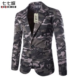 Discount fashion mens camouflage military jacket 2017 New Autumn Mens Blazer Slim Fit Suit Jacket Fashion Men Camouflage Blazer Style Casual Single Button Military Blaze