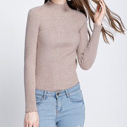 8e55720997 Turtleneck Pullovers Sweaters Women Ribbed Long Sleeve Basic Tops Female  Elastic Fit Knitted Sweater Korean Autumn Jumpers M0114
