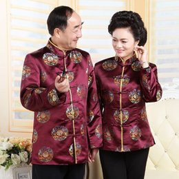 $enCountryForm.capitalKeyWord Australia - Ancient Chinese National Costume for Women Men Tops Long Sleeve Middle Age Jacket Traditional Birthday Wedding Clothing