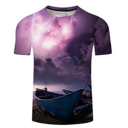 36f72bebd3c 2018 Новый фиолетовый свет 3D футболки Мужчины Женщины футболка лето футболки  повседневная Tee o-образным вырезом топы с коротким рукавом Camiseta лодка  ...