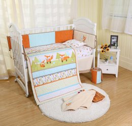 $enCountryForm.capitalKeyWord NZ - 7Pcs Early education Baby bedding set Embroidery 3D prairie fox Crib bedding set 100% cotton bedskirt quilt bumper Fitted Cot bedding set