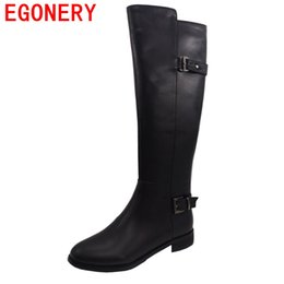 Mature Legging UK - EGONERY knee-high boots genuine leather mature winter warm new style buckle zip lengthen the leg line conventional winter boots