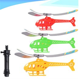 Red Pull Handles NZ - Pull String Handle Helicopter Plane Aircraft Model Funny Cute High Quality Outdoor Flying Toy Gift for Kids