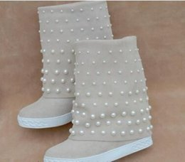 Stringing Boots Canada - Cow Suede Pearl Boots For Women Warm Pearl Trim Snow Boots Slip-on 8cm Height Increasing String Bead Women Shoes Botas Mujer
