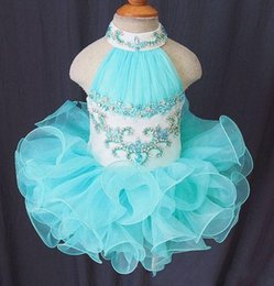 Wholesale Light Sky Blue Pageant Dresses For toddler halter beads Organza Puffy Ball Gown Ruffle First Communion Gowns For party Little Child Baby