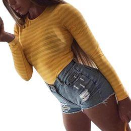 Women Yellow Bodysuits Australia - New Fashion Sexy Bodysuits 2019 Spring Rompers Women Bodysuits Long Sleeve Solid Body Top Autumn Jumpsuit One Piece Club GV125