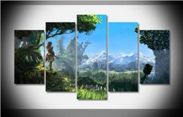 more pc games NZ - Poster 5 Pcs canvas painting pictures for living room pictures wall art cuadros decorative Horizon Zero Dawn 2016 Game