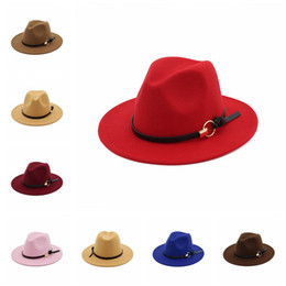 Wool fedora hats online shopping - Women Winter Wool Belt Fedora Cap Wide  Brim Cowboy Hat 63b09ef94b0