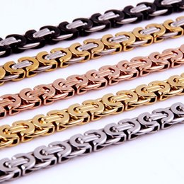 $enCountryForm.capitalKeyWord NZ - Chain Necklace Gift for Men Stainless Steel Gold Silver Black Rose Gold Byzantine Link Mens Necklaces Chains Fashion Jewelry 8mm