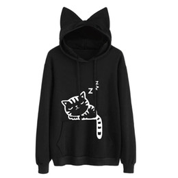 Nuevo Kawaii Cat Ear Hoodies Mujeres Cute Cartoon Sleeping Cat Print Sudadera con capucha Casual Loose Pullover Chándal Lovely Outerwear