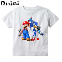 discount cute girls christmas shirts boys and girls sonic the hedgehog with mario cartoon design t - Christmas Shirts For Girls