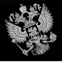 russians laptops Canada - Mobile Phone Laptop Stickers Coat of Arms of Russia Nickel Metal Car Stickers Decals Russian Federation Eagle Emblem for Car Styling